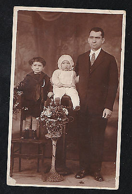 Vintage Antique RPPC Photograph Postcard Man With Children Baby & Young Boy