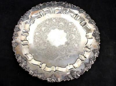 "BARBOURS International Antique 15"" Round Silver Platter Grapes Vine 6485/15"