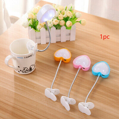 Flexible Portable Travel Book Reading Light Lamp Cute LED Clip Booklight 3 Color
