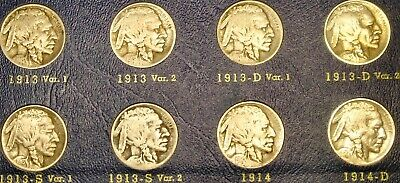 1913–1938 Buffalo Nickels Complete—1918/7 D—1937 D 3 Leg—Natural Date Collection