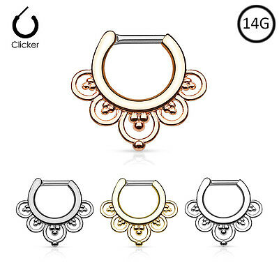 316L Surgical Steel Brass Hinged Septum Clicker Nose Ring Hoop 14 Gauge 14G