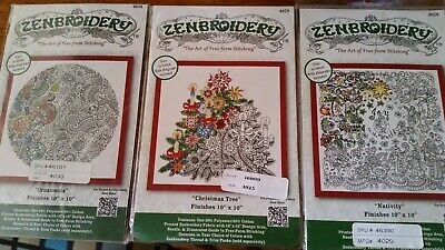 NEW 3 x Zenbroidery Stamped Embroidery Kits Free Postage