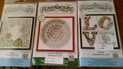 NEW 3 x Zenbroidery Stamped Embroidery Kits (Lot 3) Free Postage