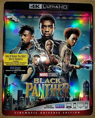 Marvel's Black Panther 4K blu ray - Like New - with slip cover - No DC