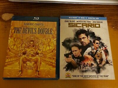The Devils Double (Dominic Cooper) + Sicario (Brolin,Blunt,Del Toro) Blu Ray Lot
