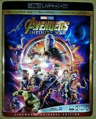 Marvel's Avengers Infinity War 4K blu ray - Like New - with slip cover - No DC