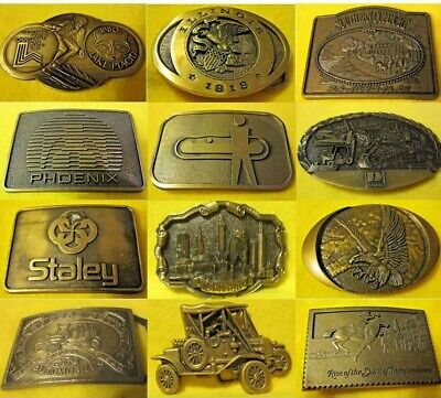 UNIQUE BELT BUCKLE Illinois Lincoln Texas Caterpillar Bear US Liberty Ford