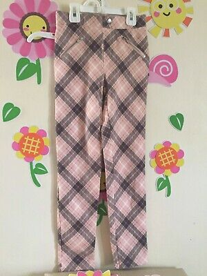 H&M pants kids girls plaid pink and grey .size 9-10 years old good conditions
