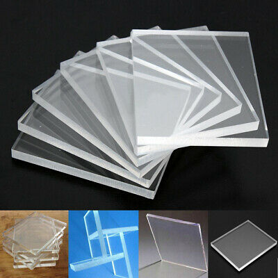 6Pcs/Set Clear Acrylic Blocks Stamping Rubber Plexiglass Thin Pads 5mm Thickness