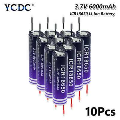 18650 Battery Rechargeable 3.7V 6000Mah High Capacity For Torch Headlamp 10Pcs