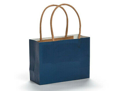 SALE - 12 Small Navy Kraft Bags for Gifts or Crafts - 115mm Tall