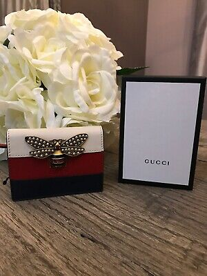 70c519c77 New GUCCI White/Red/Blue Embellished Queen Margaret Leather Card Case Wallet