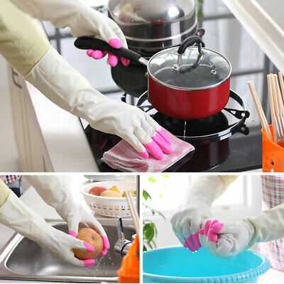 Household Long Rubber Gloves Latex Washing Kitchen Dish Cleaning Waterproof New
