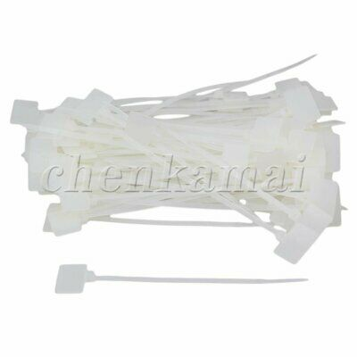 100 Pcs White Zip Ties Write On Ethernet Wire Power Cable Label Mark Tag
