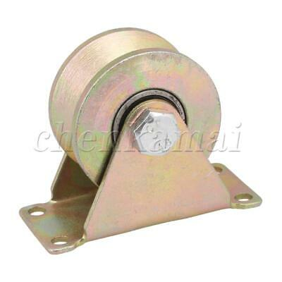 Yellow 45# Steel 59mm Wheel Dia Groove Rigid Caster Sheave for Industry Lathe