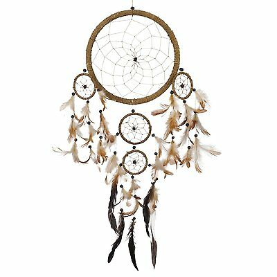 "Handmade 28"" Natural Dream Catcher Indian Tradition Feathers Native Wall Car"