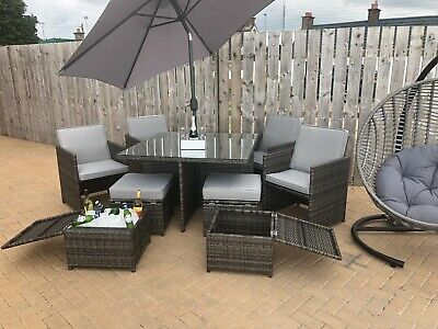 Brown Rattan Cube Garden Furniture Set Patio Dining  Parasol Table + Chairs