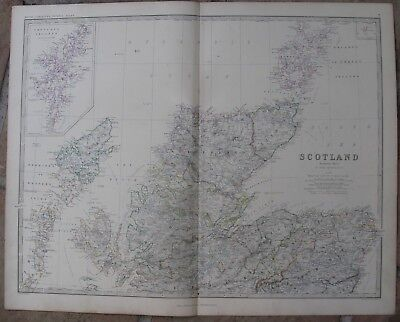 1861Antique A.K.Johnston Map - NORTHERN SCOTLAND - Shetland Islands- H/C Outline