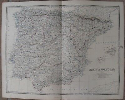 1861 Large Antique A.K.Johnston Map - SPAIN & PORTUGAL - Hand Colored Outline