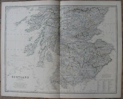 1861 Large Antique A.K.Johnston Map - SOUTHERN SCOTLAND - Hand Colored Outline