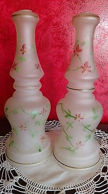2 Matching Lamp Part Frosted Glass Body Hand Painted VTG MCM Floral Stem Spacer