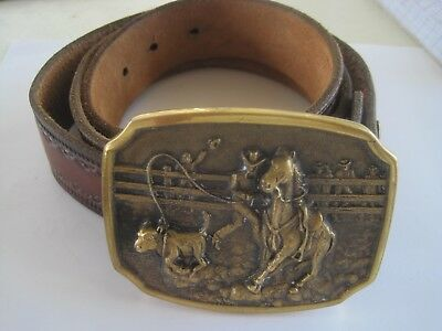 Cowboy Rodeo Belt Buckle 1978 Registered Collection Solid Brass Heritage Mint