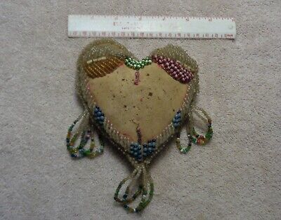 Antique Iroquois Beaded  Heart Pin Cushion Sewing