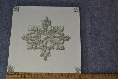 antique tile Maw & Co Jackfield Salop green white 6 in. original