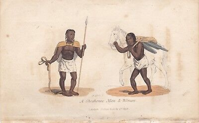 1828 Two Costume Prints - Shoshone Indians - Snake Charmer - Ashanti Indian