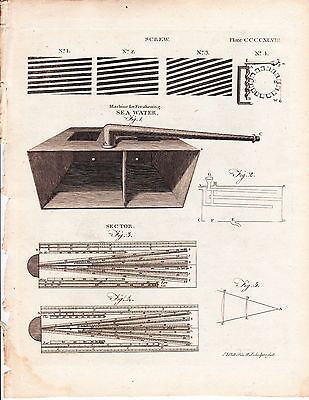 1797 Antique Engravings- SCREW THREAD- SEA WATER FRESHENING MACHINE - Britannica