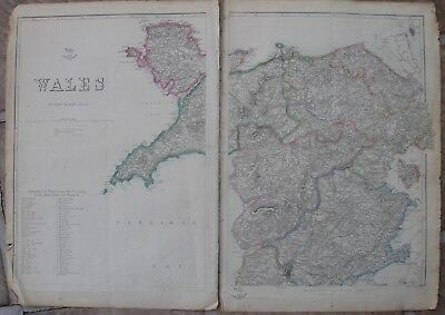 1860 Two Large Map Sheets - NORTH WALES IN COUNTIES - Welsh Name Translation!
