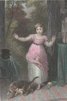 "1829 Two Antique Engravings - ""Lucy and her bird"" - ""Anne Page and Slender"""