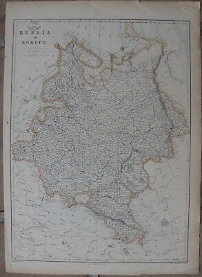 1863 Large Antique Map - RUSSIA IN EUROPE - J.W. Lowry - Weekly Dispatch Atlas