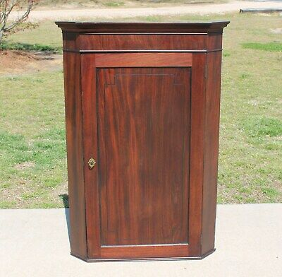 19th c Federal Mahogany Wall Corner Cabinet Cupboard with Butterfly Shelves