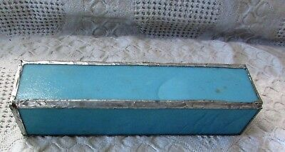 Vintage Stained Glass Kaleidoscope Slag Blue Glass, Square, Handmade