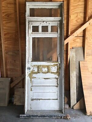 Antique Wooden Door With Transom And Frame