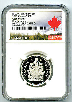 2019 Canada 50 Cent .9999 Silver Proof Half Dollar Ngc Pf70 Ucam First Releases