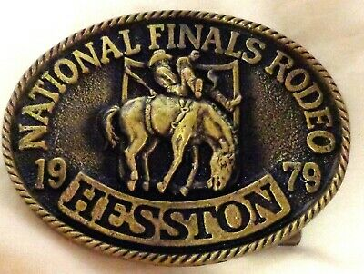 Vintage 1979 HESSTON BELT BUCKLE NATIONAL FINALS RODEO NFR Oklahoma City OK