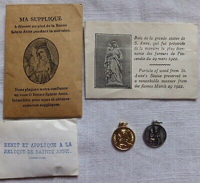 4 Religious Items Relic Medal /particle Of Wood From Statue St Ann De Beaupre