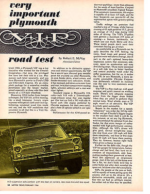 1960 PLYMOUTH VALIANT 170/101 Hp ~ Original 2-Page Road Test