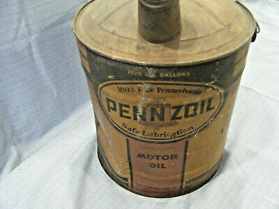 5-GALLON TIN PENNZOIL MOTOR OIL CAN GAS SERVICE STATION Vintage Dome Top