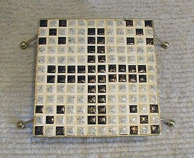 """Handcrafted ceramic tile mosaic black gray 6"""" square trivet w wire legs FREE S/H"""