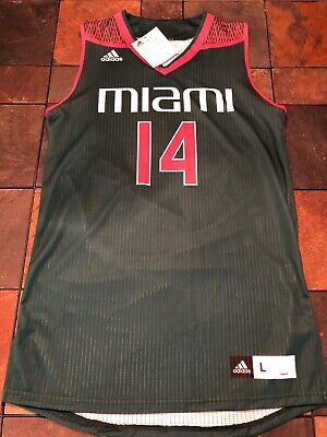92285d4cf74 UNIVERSITY OF MIAMI Hurricanes Mens L Adidas Basketball Jersey ...