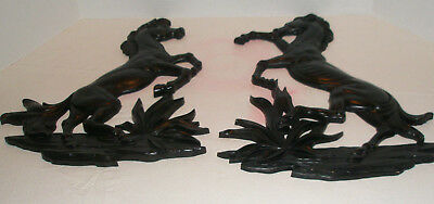 Vintage SYROCO WOOD Mid Century Wall Plaques Stallions Black