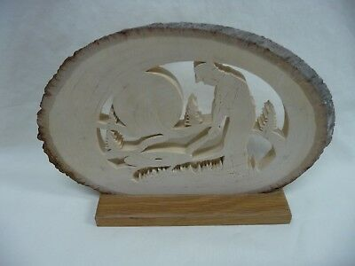 Hand Crafted Oval Wood Scroll Saw Golfer Mounted For Desktop Display Signed