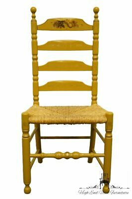 AUTHENTIC HITCHCOCK Stenciled Ladder Back Accent Side Chair w. Rush Seat