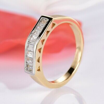 Sparkle Princess Cut Clear Sapphire Crystal Women Rings Thumb Finger Jewelry