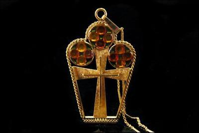 Antique Gold Filled Cross Pendant Necklace A804-114