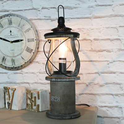 Vintage aged wooden miners lantern style table lamp living room bedroom lighting