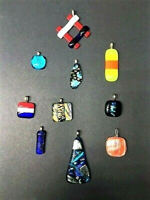 10 pcs Cabochon Lot Handmade DICHROIC~FUSED GLASS~Cabs~Necklace Pendant~Charm~H